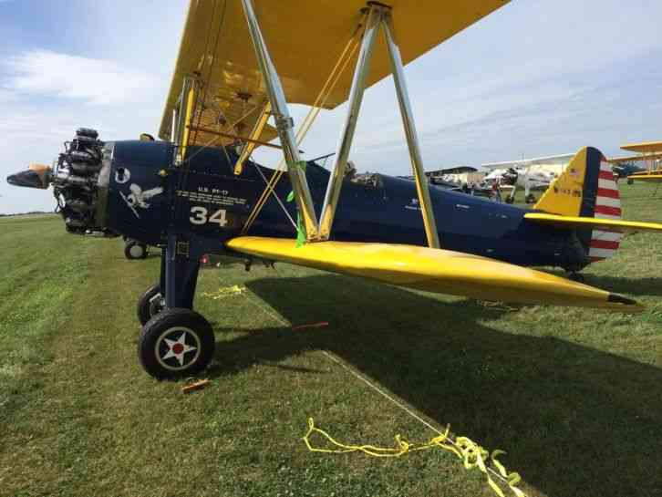 """""""Excellent"""" Stearman 1941 Older restoration included new wood in all wings   480 hours since major"""
